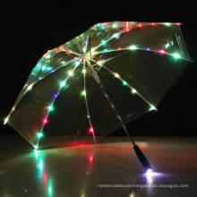 New Arrival Promotion Advertise Fashion Fluorescent Logo LED Transparent Umbrella with Custom