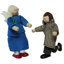 Boneca de madeira pequena figura para crianças