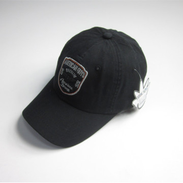 Mens Black Patch Sports Cap with Badge