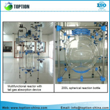 Factory price three layer high pressure glass reactor 50L