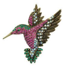 Strass fantasia colorido pássaro prateado broche