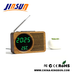 Wooden LED Clock With FM Radio Modern
