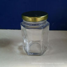 6oz Hexagonal Glass Jars with Metal Lids on Sale