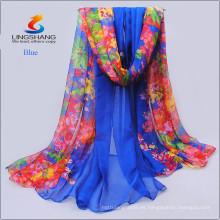 Nueva bufanda de seda impresa digital del infinito de la gasa de la alta calidad de la venta caliente al por mayor de la manera del diseño de Lingshang