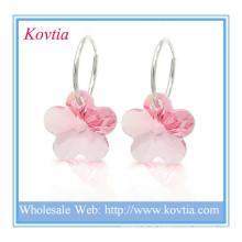 Alibaba chian rosa cristal pequeno 925 brinco de prata esterlina hoop para meninas