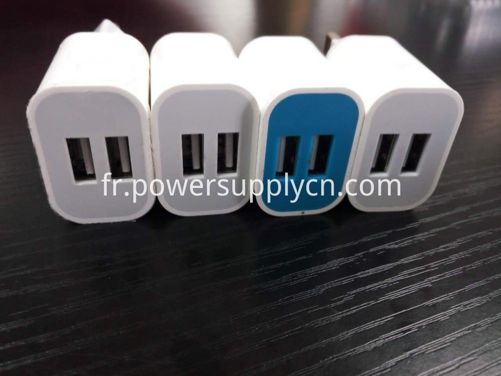 Dual USB Phone Charger with US,EU,AU,UK Plug 5V2.1A
