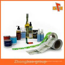 Envoltura de etiqueta de plástico de encogimiento de calor para el cuidado del cabello / loción para el cuerpo / loción para el cuerpo / bebida / bebida / botella de vino