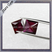 Garnet Square Brilliant Cut Cubic Zirconia