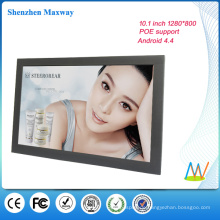 schmaler Rahmen 10,1 Zoll 1280 * 800 Wandhalterung Android Tablet POE Android-Version 4.4