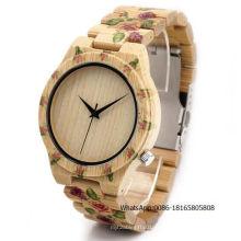 Relógio de pulso de homens de artesanato de madeira europeu relógio de quartzo relógio de presente de Natal de tendência