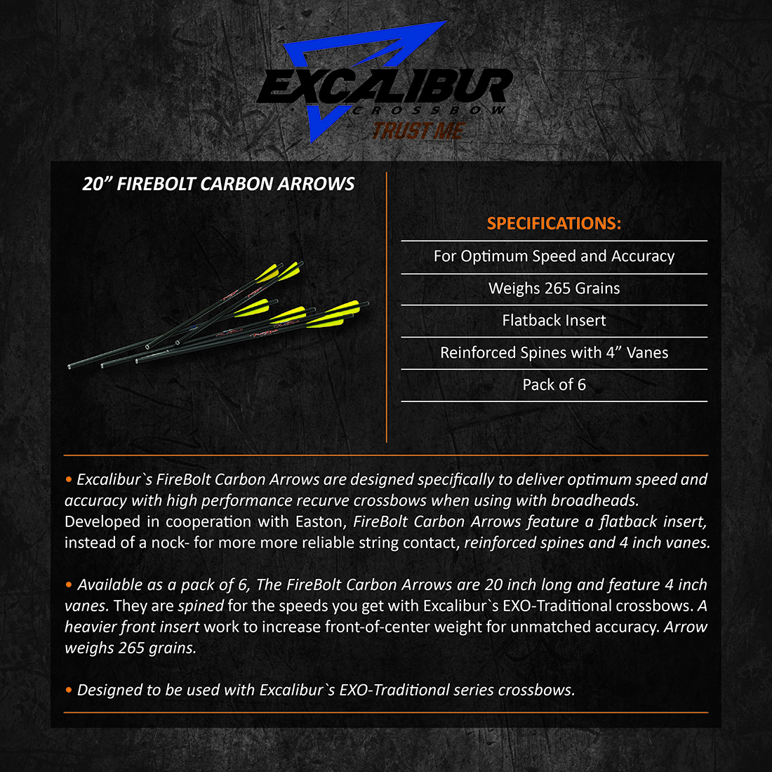Excalibur_FireBolt_Carbon_Arrows_6pk20in_Product_Description