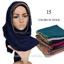 Proveedor de la fábrica Mujeres Largo Musulmán Hijab bufanda Voile llano perla bufanda