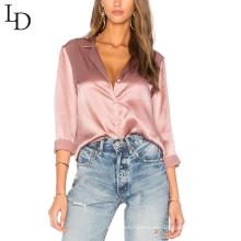 última camisa de manga larga casual rosa personalizada de los diseños para las mujeres