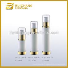Bouteille plastique sans air de 15 ml / 30 ml / 50 ml, bouteille sans fil ronde en aluminium, bouteille sans cosmétiques