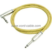 DBS Series Instrument Guitar Cable Jack 90° to Jack Yellow Braided