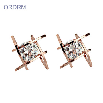 Terbaru Rose Gold Disepuh CZ Batu Stud Earrings