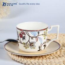 Colorido de la pintura de alta calidad de la venta caliente de hueso de hueso única taza de café y platillo de forma