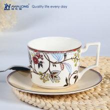 Красочные картины горячей продажи высокого качества тонкой костяной фарфор уникальная форма кофейная чашка и блюдце набор