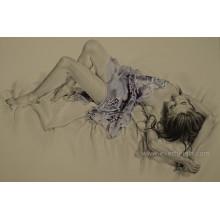 Сексуальная обнаженная женщина живописи на холсте стены фотографии для гостиной (EBF-076)