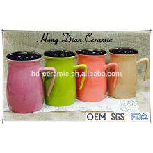 Novo produto caneca de cerâmica com tampa, caneca colorida, material de cerâmica caneca de cerâmica por atacado