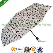 Heat Transfer Druck Auto drei Falten Regenschirm für Promotion (FU-3821BFA)