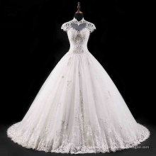 High Collar Backless Beading Lace Bridal Wedding Dress