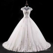 Gola alta backless beading laço vestido de casamento nupcial