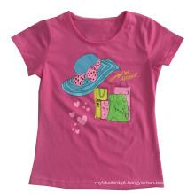 T-shirt da menina do tampão da flor na roupa da roupa das crianças com impressão Sgt-075
