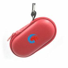 Caso de lente de câmera de EVA de couro vermelho com mosquetão