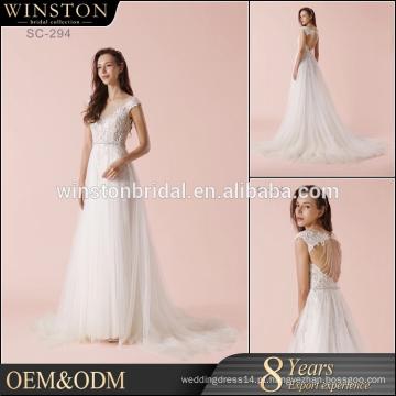 Hot Sell Good Quality 2017 Vestido de casamento de cetim de estilo novo