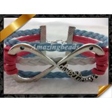 Infinity Charms Bracelet, Biger Infinity Silver Leather Bracelets (FB0119)
