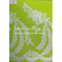 Белый Шантильи кружевной ткани вышивка кружева scoop кружева для свадебного платья CTC180-1-Т58 для новобрачных