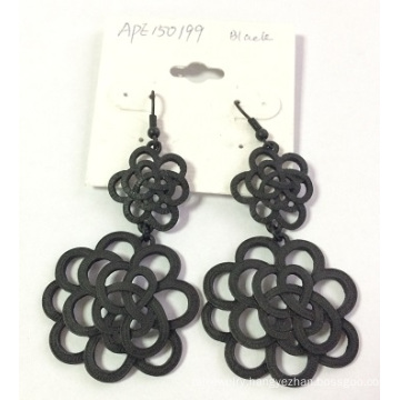 Black Lace Flower Earrings with Metal