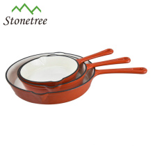 High Quality Cast Iron Kitchen Cookware Enamel Cast Iron Skillet Fry Pan With Long Handle