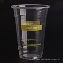 Tasses en plastique transparentes avec logo personnalisé