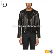 Zipper Detailing 100% PU Leather Biker Black Chaquetas de cuero para hombres