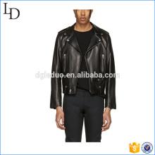 Zipper Detailing 100% PU couro preto motociclista jaquetas de couro
