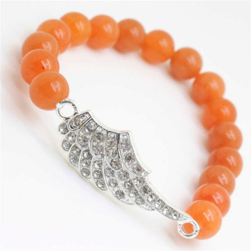 Red Aventurine Gemstone Bracelet with Diamante alloy Wing Piece