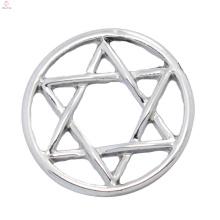 China preço de fábrica de placas de liga de zinco puro, forma de estrela placas de janela de vidro claro fit fot 30 milímetros medalhões