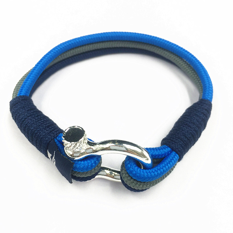 Handmade Men's D Shackle Screw Horseshoe Cord Bracelet