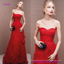 Draped Sweetheart Neckline Fantasy Tulle Evening Dress with Irregular Frills