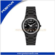 Reloj de cuarzo resistente al agua de los hombres del deporte del cuarzo reloj negro de acero inoxidable