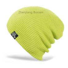 Personalizado sólido luz verde Ski Ribbed Flap Knit Hat