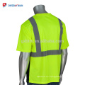 Hola Viz Lime para hombre de 2 tonos de cuello redondo camiseta reflectante Seguridad en el trabajo de alta visibilidad EN471 Ropa de seguridad con bolsillo en el pecho