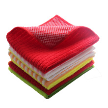 Microfiber Cleaning Cloth With Mesh For Dishes Cleaning