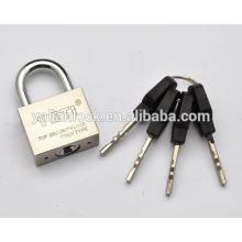 Nova chegada de alta segurança niquelado galvanizado Prata pequeno bonito quadrado ferro cadeado latão / ferro cadeado