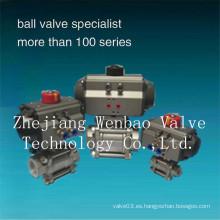 Válvula de bola accionada neumática 3-PC de acero inoxidable