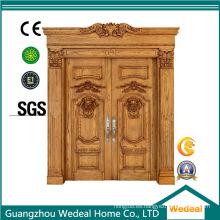 Puerta doble de entrada de madera maciza frontal para casas
