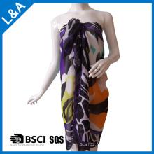 Echarpe imprimée en mousseline de soie polyester pour femmes violet