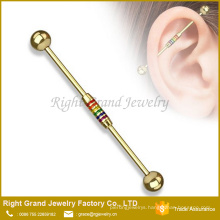 Titanium Plated Rainbow Striped Enamel Pattern Surgical Steel Industrial Barbell
